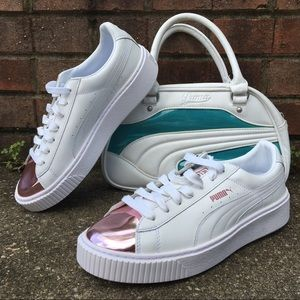 37a9d4915b4 Puma Shoes - WHITE PLATFORM PUMA SNEAKERS W  METALLIC PINK TOE